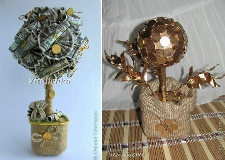 Денежное дерево, как правило, делается из сувенирных купюр и монет