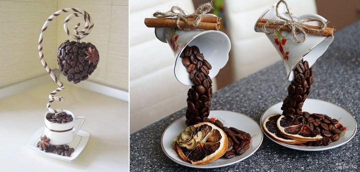 Топиарии с зернышками кофе – это настоящие <u>топиарии</u> кофейные деревца, дизайн которых может быть самым разным. От простого мини-дерева в горшочке с круглой кроной до так называемой «парящей чашки» и кофейного-кошелечка