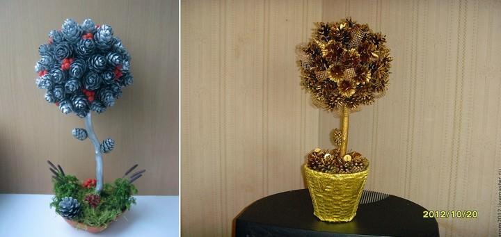 Дерево счастья из шишек может относиться как к осеннему, так и к новогоднему декору
