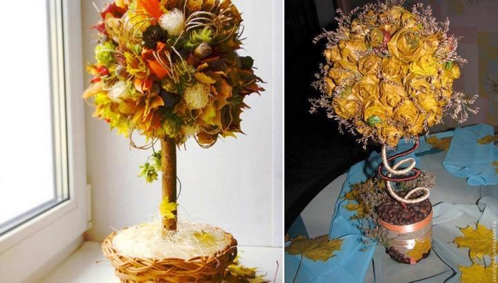 Осеннее дерево счастья может быть выполнено в виде цветочного шара из листьев или полноценной осенней композиции из большого обилия «даров осени»