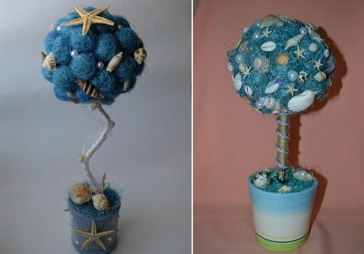 Если декора в морской тематике не слишком много, в качестве основного материала для декорирования кроны можно использовать тот е сизаль, выкрашенный в соответствующий цвет