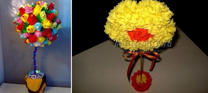 Самый распространенный вид таких топиариев – цветочная крона. Из креп-бумаги можно сделать невероятно красивые, очень похожие на живые цветы розы, пионы, васильки и т.д. Такие цветки могут делаться только из гофре-бумаги, или с использованием маленьких шариков-основ (например, конфет)