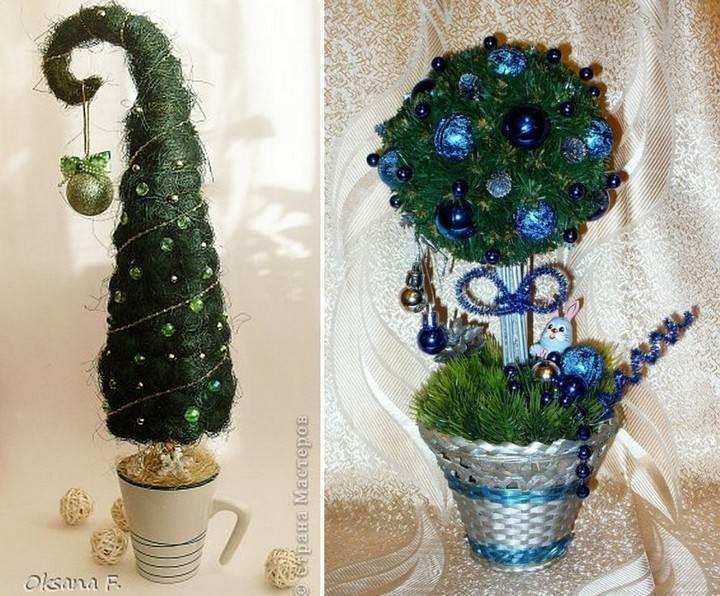 Новогоднее дерево счастья может быть выполнено в виде елочки или традиционного деревца круглой формы