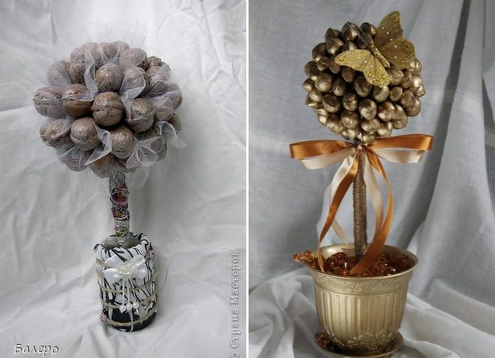 Из просиых на первый взгляд орехов можно создать необычное деревце в любой тематике