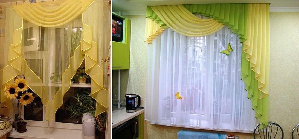 Тюлевые шторы с ламбрекеном – еще одна модель штор, которая встречается намного реже, да и не часто кухонные шторы бывают многослойными