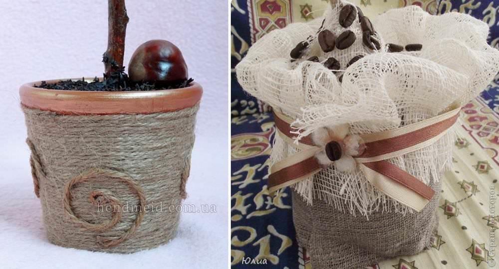 В качестве декора для кашпо легче всего использовать текстиль или шпагат. Очень стильно выглядит горшочек, задекорированный мешковиной