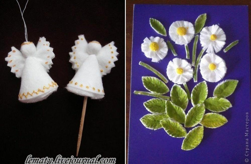 Ангелочками из ватных дисков можно украсить елочку, а ромашками оформить крону топиария