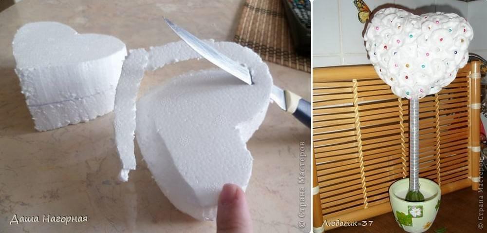 Для кроны в форме сердца основание можно вырезать из картона, макрофлекса или пенопласта