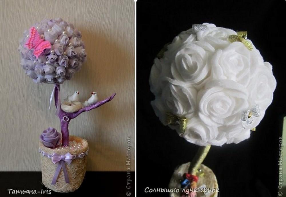 Если ватные диски или уже готовые цветы немного взбрызнуть краской из баллончика, это значительно оживит композицию. А в сочетании с жемчужными бусинами декор поучится более полноценным