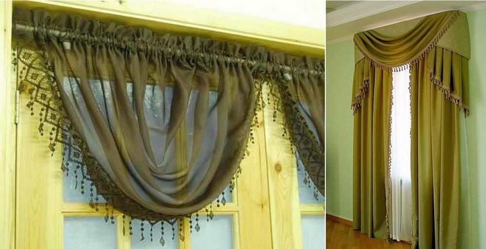 Сваг и джабот – наиболее часто применяемые элементы ламбрекенов при текстильном оформлении окон