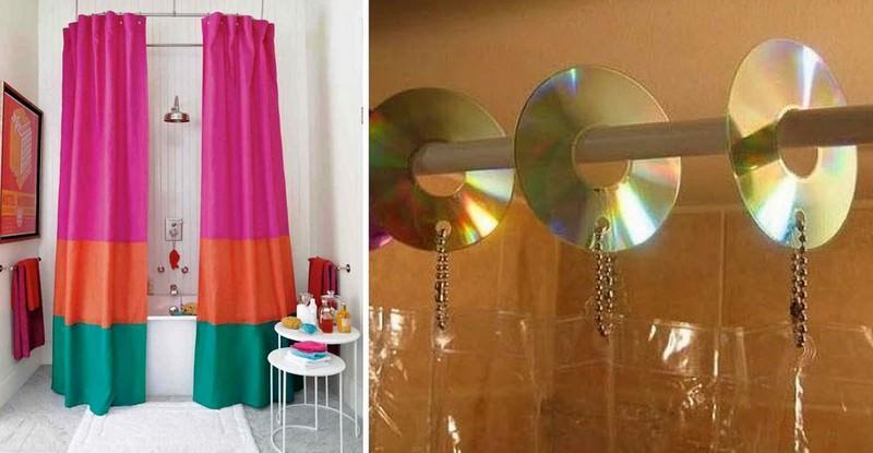 Старые шторы в ванной можно обновить, удлинив их схожей по фактуре тканью. А старые крючки-фиксаторы из пластика заменят уникальные и самобытные творения из компакт-дисков