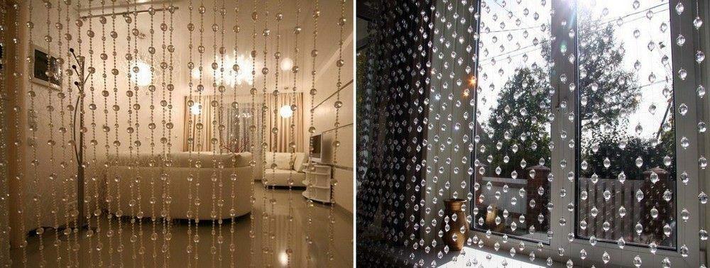 Нитяные шоры, украшенные бусинами, могут зонировать помещение или являться стильным украшением любого окна