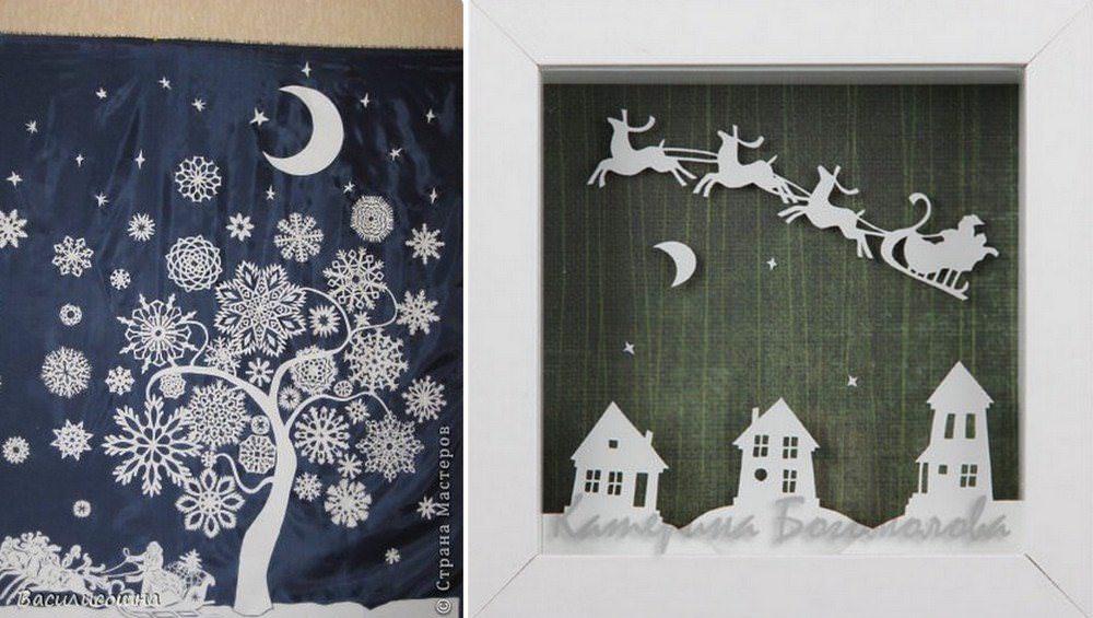 Обычная белая бумага как нельзя лучше подходит для создания новогоднего декора