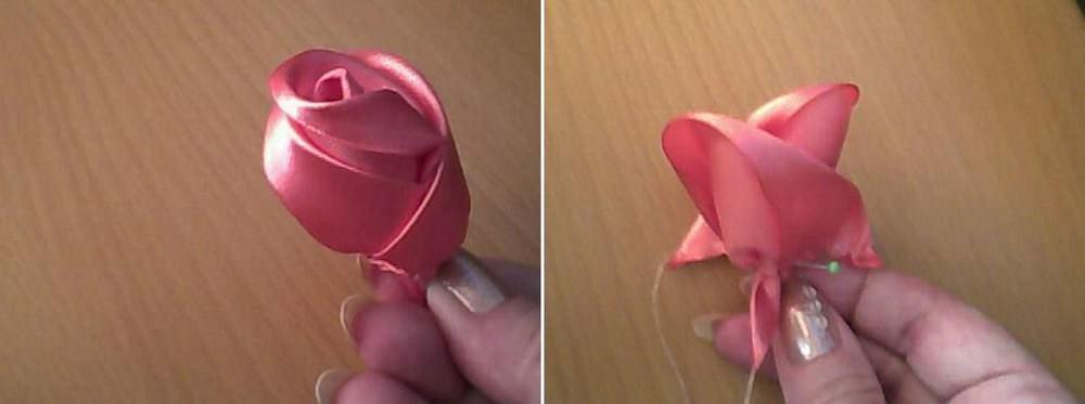 Оба конца ленты держите левой рукой, большим и указательным пальцами, основание обматываете ниткой плотное и завязываете