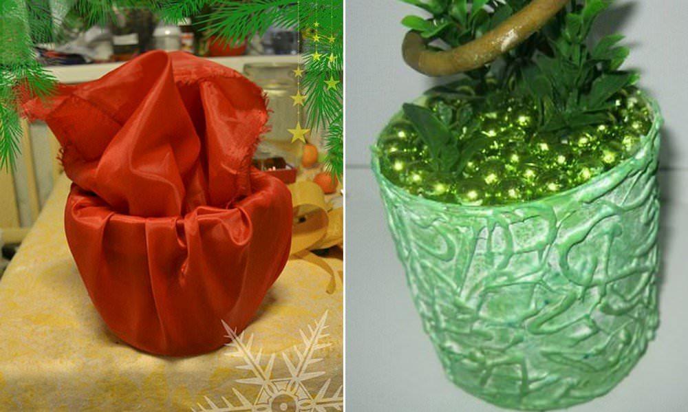 Кашпо для топиария можно украсить любым декором, который есть под рукой. Это может быть текстиль, шпагат, гофре и многое другое