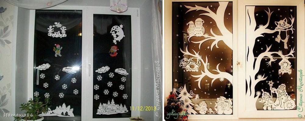 Задекорировать окно можно снежинками, вырезанными вручную из бумаги или целой новогодней композицией