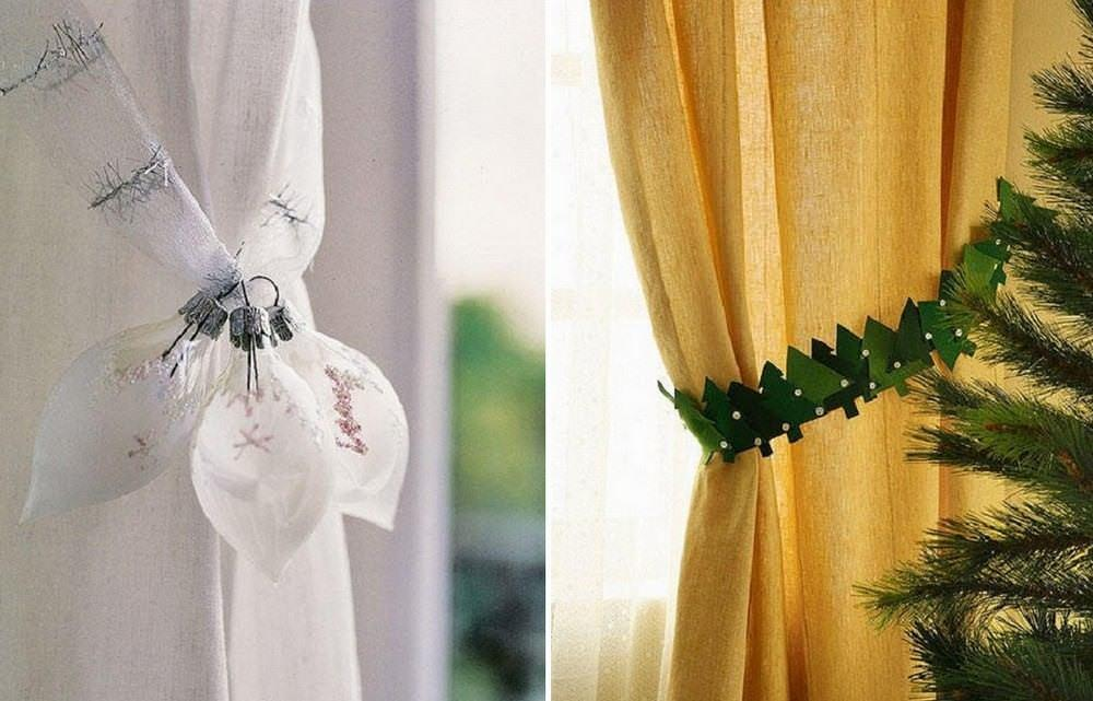 Вы можете использовать новогодние подхваты. Это могут быть снеговички, обнимающие штору, елочки, пингвинчики. Или просто прямоугольные светлые полоски с вышитыми снежинками, для простых светлых штор – лучший вариант