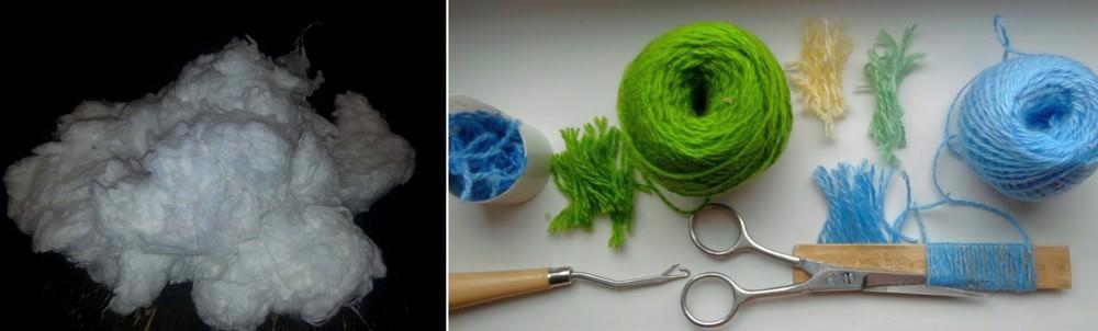 Вместо ваты можно использовать измельченные хлопковые нити или льняное волокно