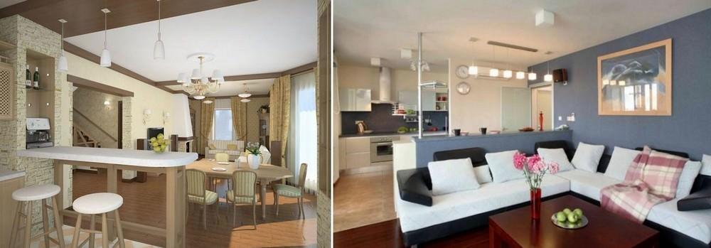 Существует множество вариантов совместить кухню с комнатой, расположенной рядом, и создать действительно неповторимый уют и комфорт