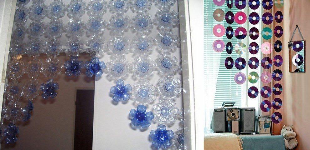 Простые болванки или пластиковые бутылки могут стать отличным материалом для декоративной шорки на дверной проем или на окно