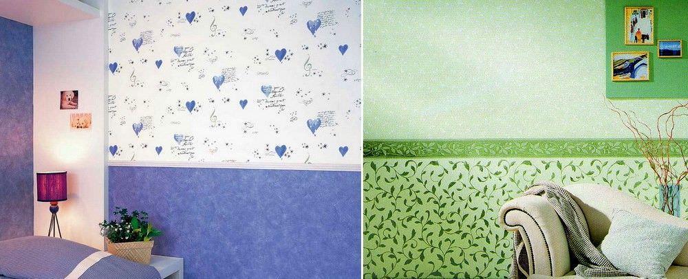 Чтобы удачно скомбинировать краску и обои, нужно использовать либо глянцевую, либо матовую по блеску текстуру