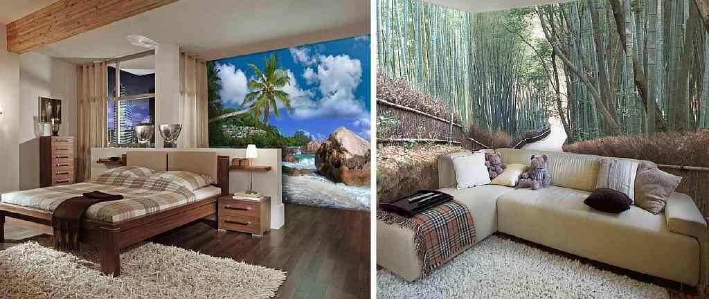 Фотообои с принтом пейзажей рекомендуются для спальни: такие обои успокаивают и настраивают на позитивный лад