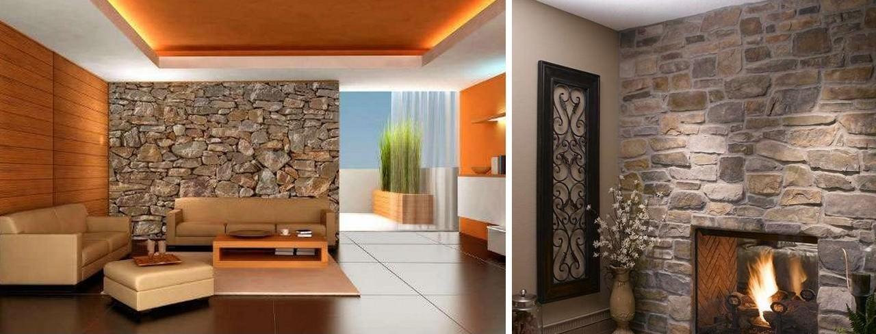 Отличной альтернативой обоям является отделка стены натуральным камнем