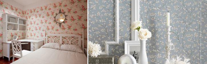 Обои в мелкий цветочек способны визуально расшить пространство помещения