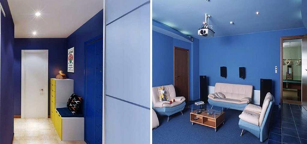 Визуально увеличить комнату можно не только с помощью банальных белых обоев: синий цвет тоже обладает расширяющими свойствами