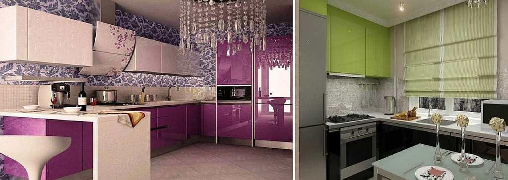 В угловой кухне можно поклеить яркие обои: будет создан огромный контраст между двумя перпендикулярными стенами и остальной комнатой