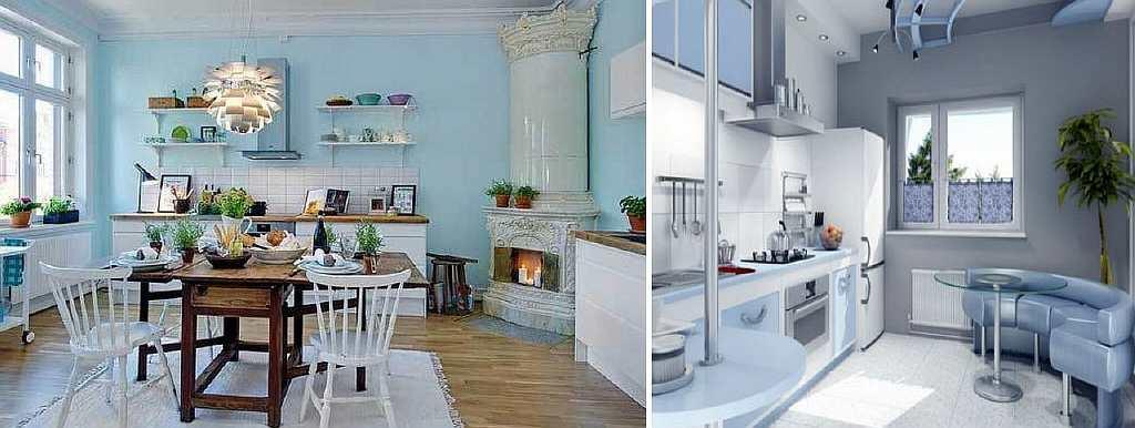 Как известно, кухня - самая маленькая комната в доме. Визуально увеличить кухню можно с помощью обоев синего или голубого цвета