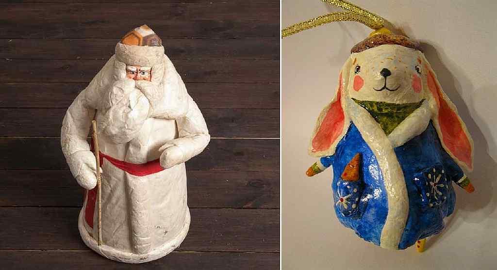 Из папье-маше можно сделать игрушку любой формы: можно слепить желаемую фигурку своими руками; или приобрести формочки для украшений в специализированных магазинах