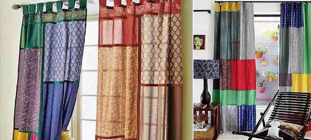 Если есть возможность, то стоит взять остатки штор разных цветов: такой смелый эксперимент сейчас находится на пике моды