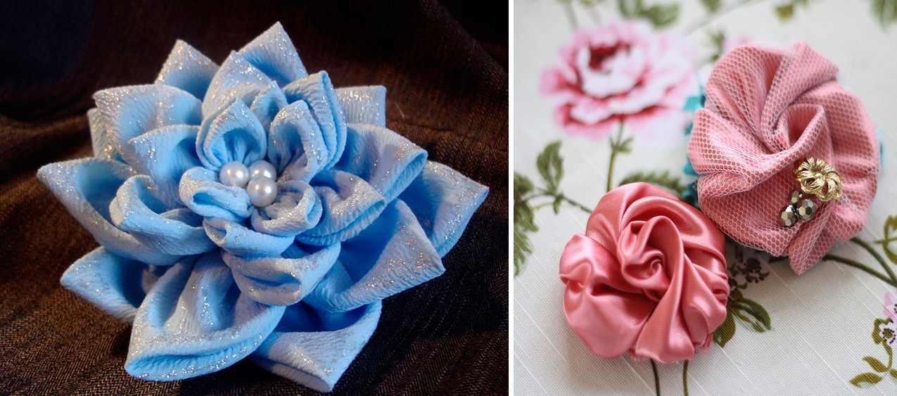 Цветами из ткани можно украсить заколки, одежду или сумку