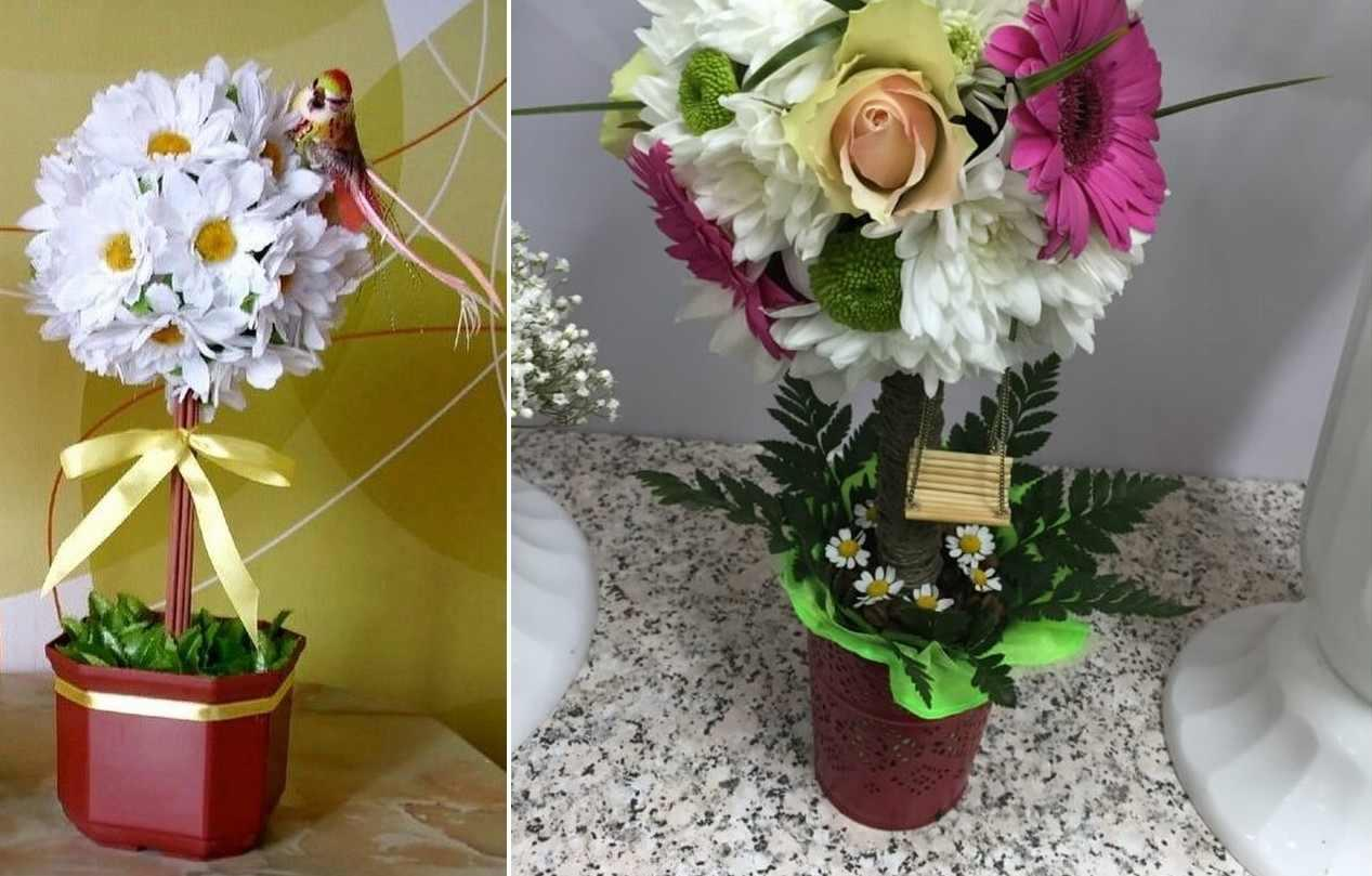 В целях экономии можно использовать искусственные цветы