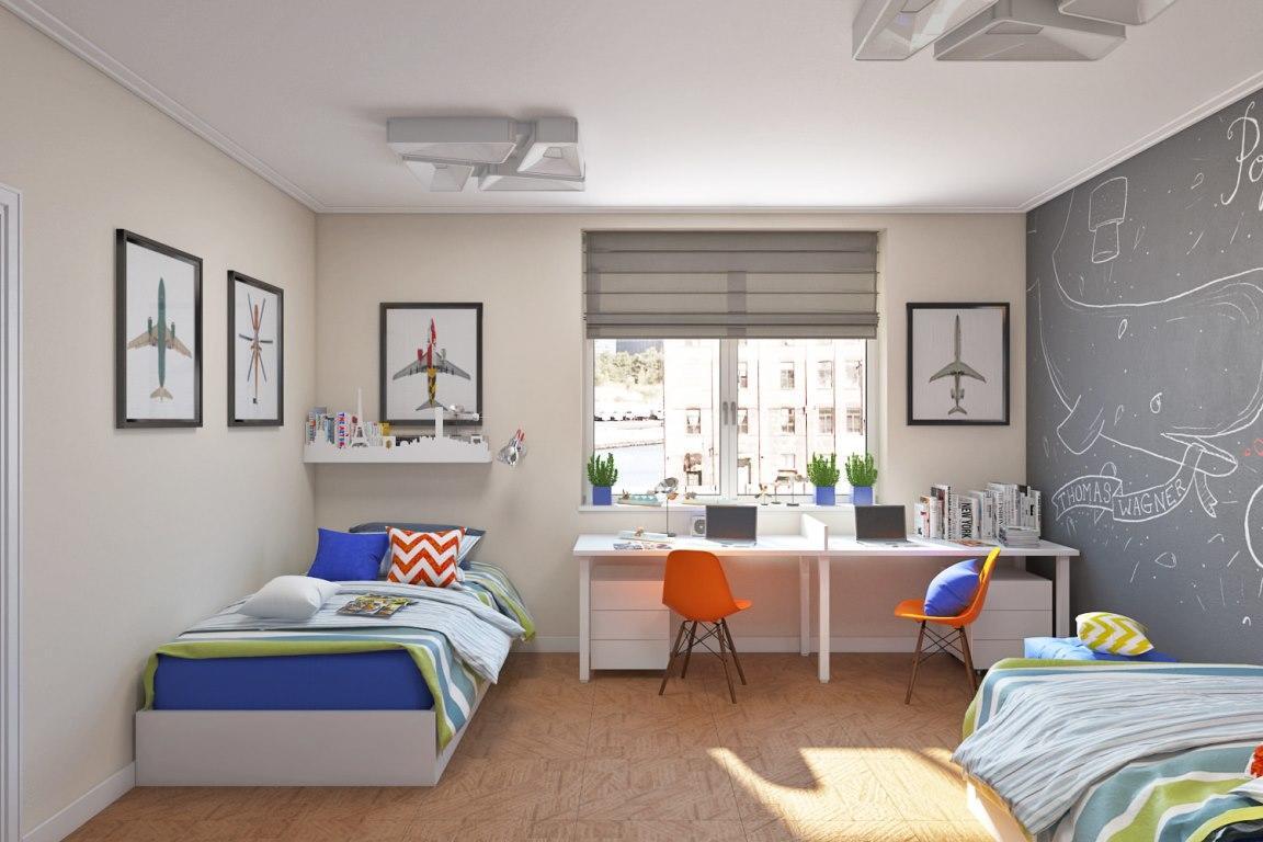 Для двух мальчиков разного возраста комнату лучше оформлять в нескольких цветовых гаммах