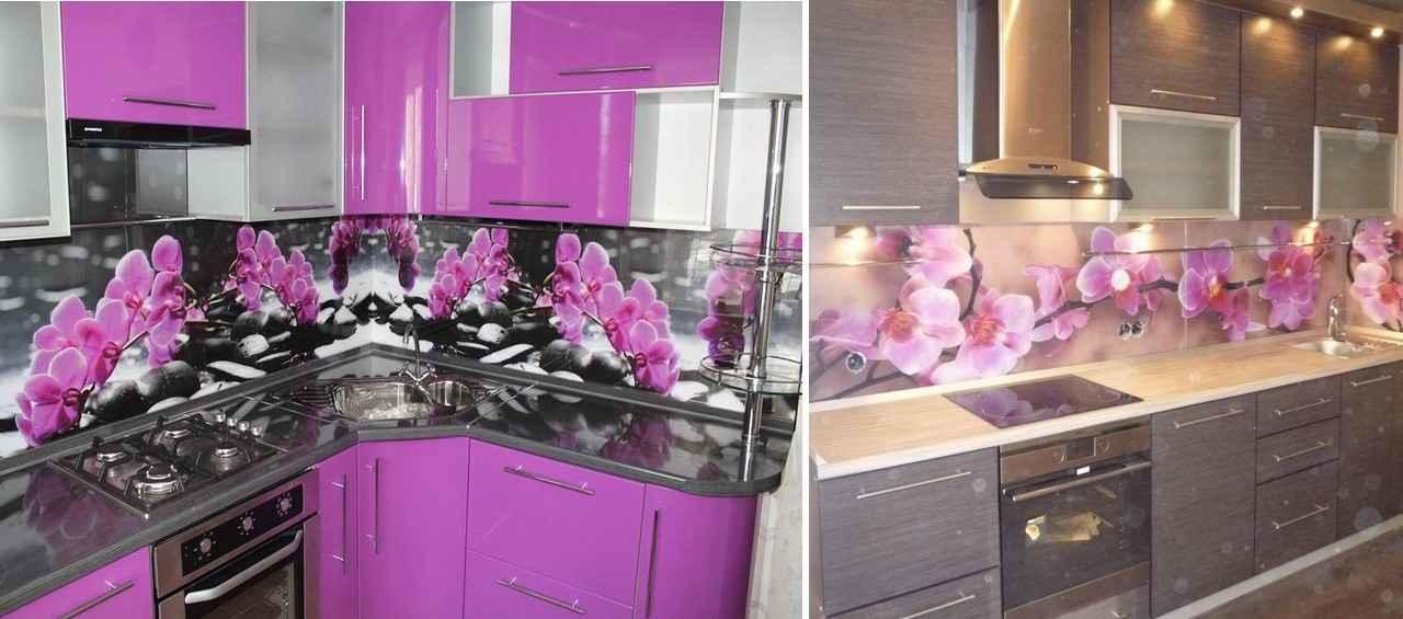 На кухне можно использовать орхидеи для оформления фартука