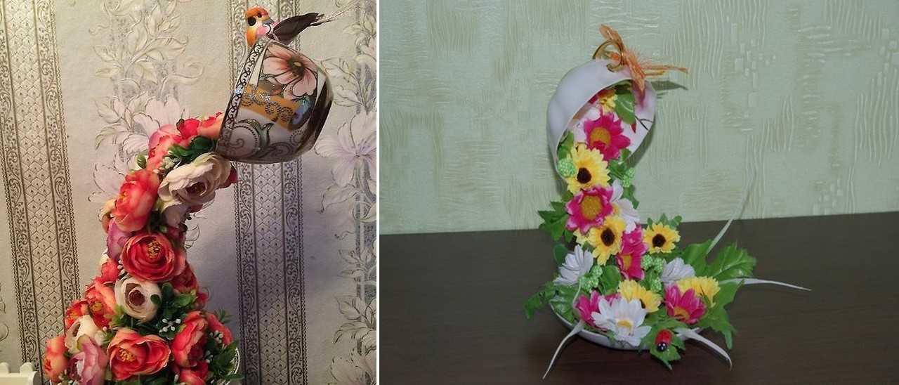 Если вы не желаете использовать кофе, то ваш топиарий можно украсить с помощью цветов