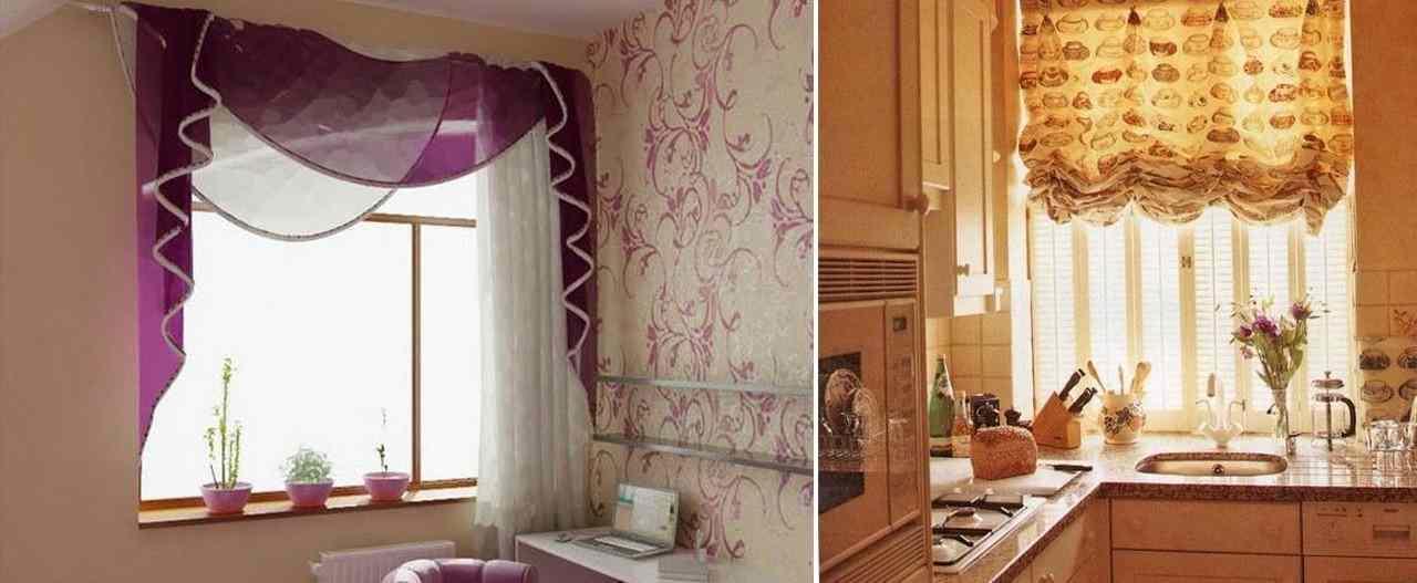 Короткие шторы можно использовать для оформления интерьера кухни