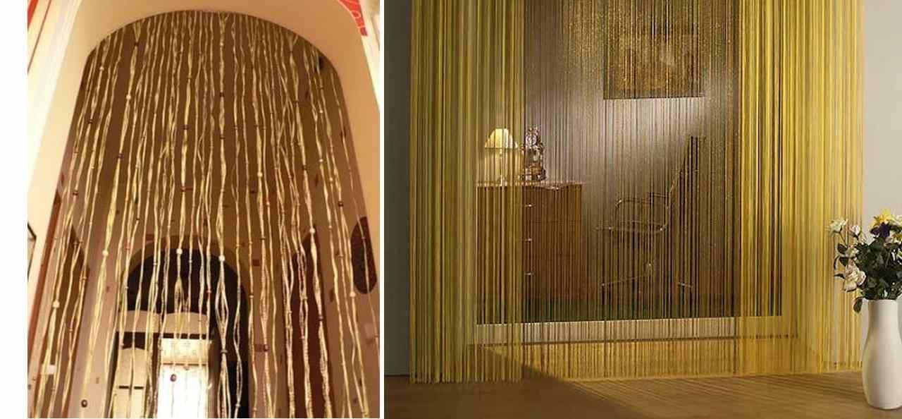 Нитяные гардины можно повесить не только на окна, но и использовать для оформления дверного проема