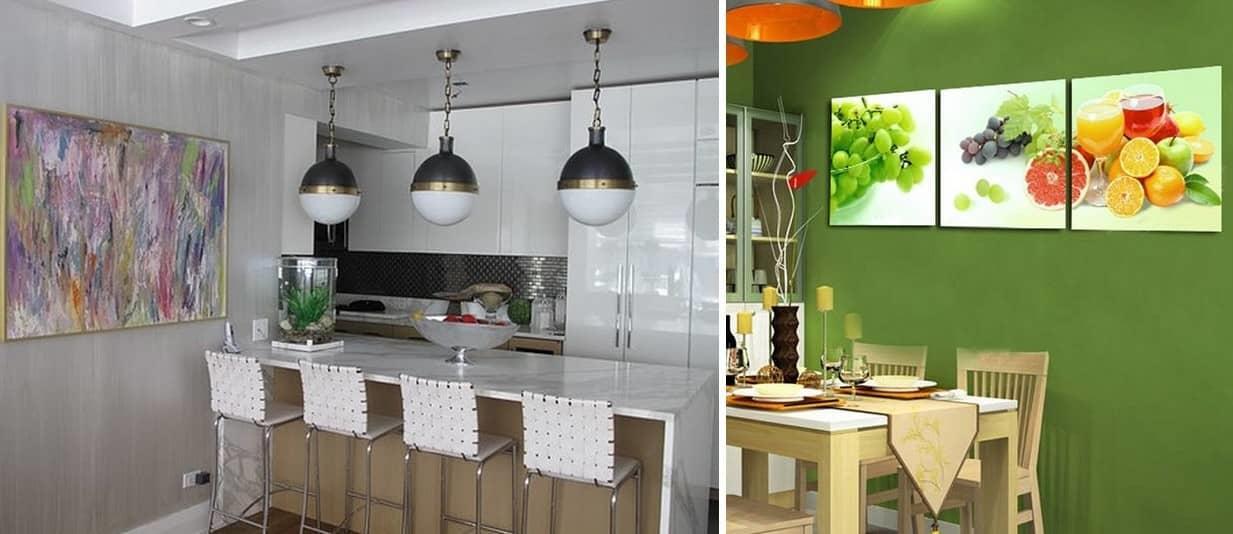 Определяться с количеством картин необходимо, исходя из площади кухни