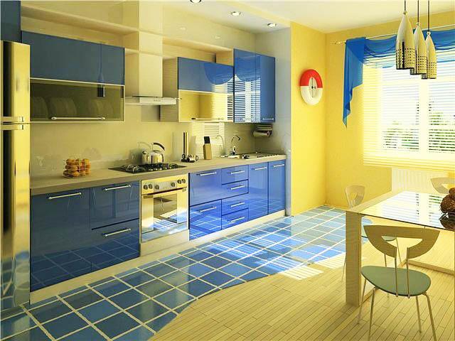 Синяя кухня с желтыми стенами - отличное сочетание для морского стиля в дизайне