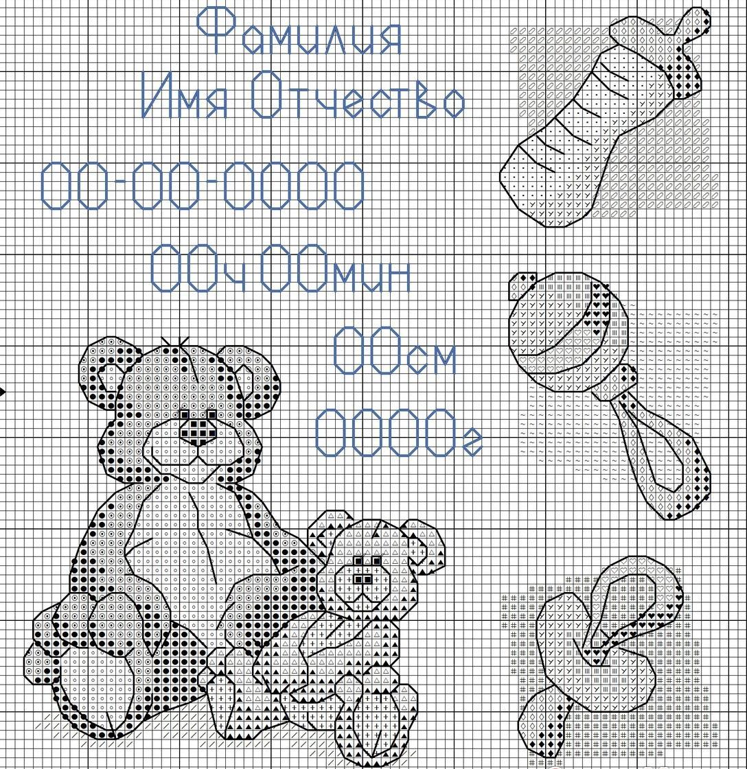 Перед тем как вышить детскую метрику, необходимо выбрать определенную цветовую гамму, материал и схему