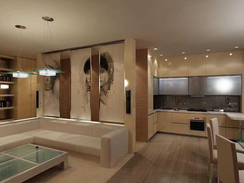 Кухня, совмещенная с гостиной, выглядит очень современно