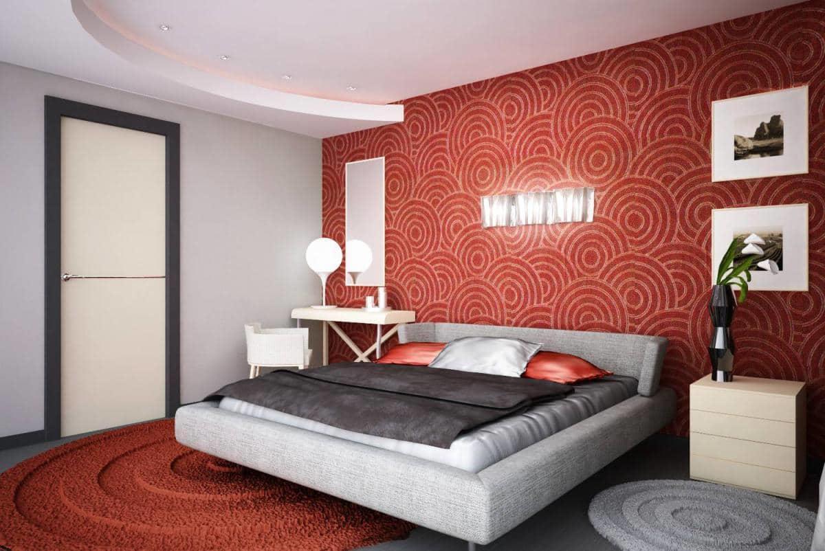 Приглушенный красный цвет отлично подойдет для спальни