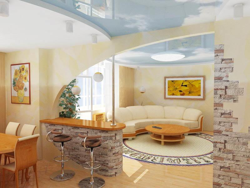 Арка с барной стойкой уместны в больших помещениях, когда необходимо подчеркнуть пространство
