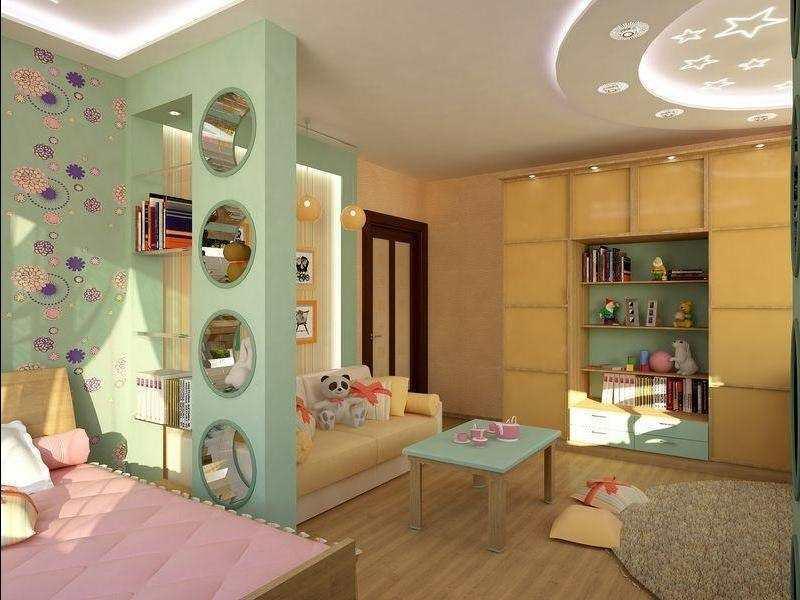 Благодаря сочетанию разных обоев в комнате, можно поделить одну комнату на зоны