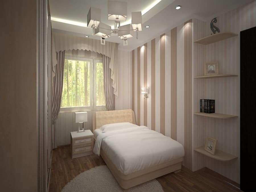 Дизайн узких спален: интерьер и фото, длинная вытянутая спальня, современная узкая мебель, как расставить