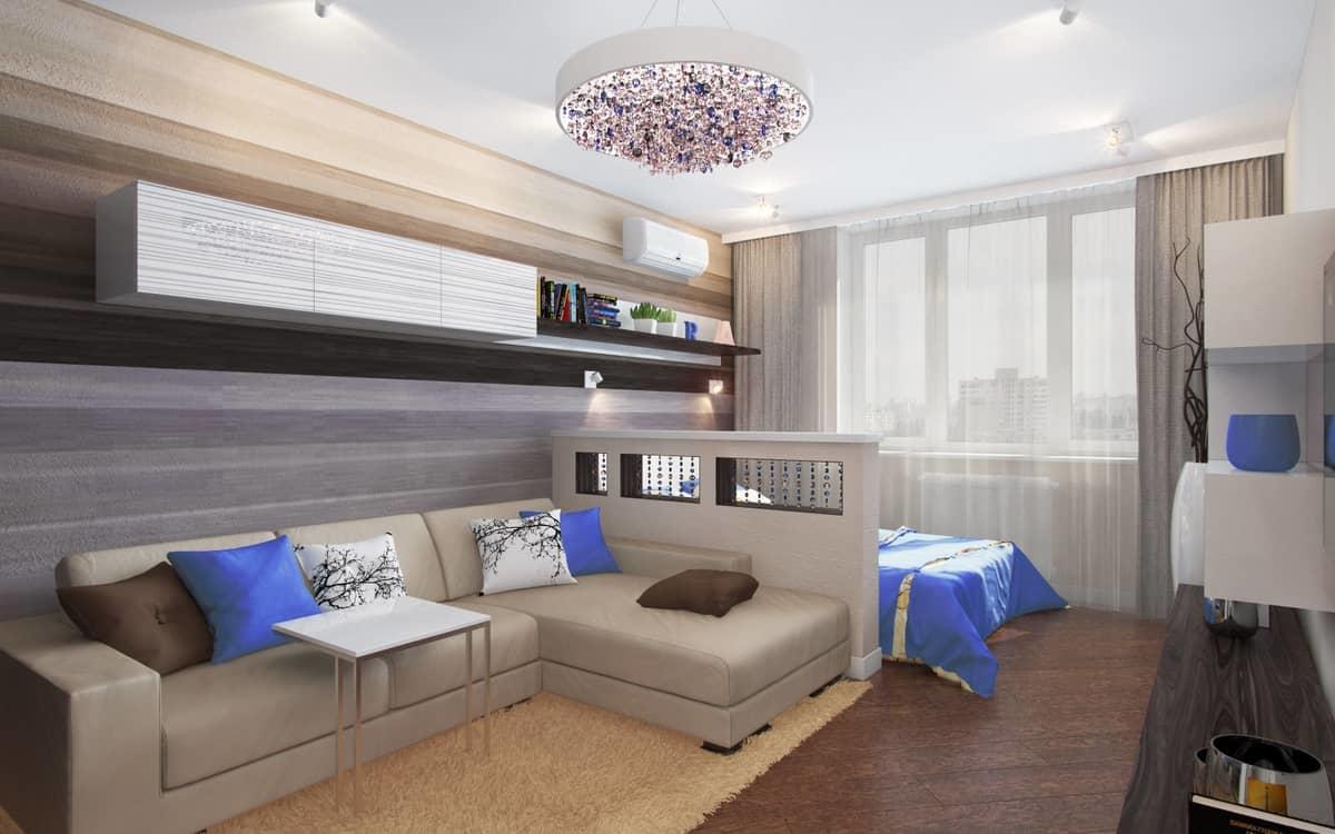 При помощи небольшой перегородки можно с легкостью разделить зал на спальню и гостиную