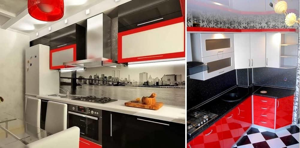 Кухня в бело-черно-красных тонах способна создать эффектный контраст, который по-настоящему впечатляет своей неординарностью